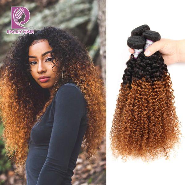 Racily Hair 1/3/4 Pcs Ombre Brazilian Hair 1B/30 Brown Kinky Curly Hair Bundles Weave Human Hair Extensions 10-26 Inch Bundles
